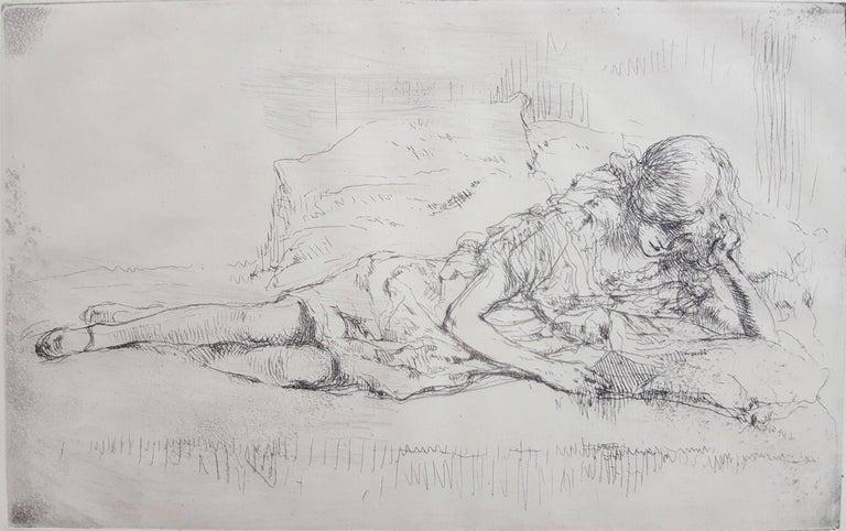 Auguste Brouet Figurative Print - Reading