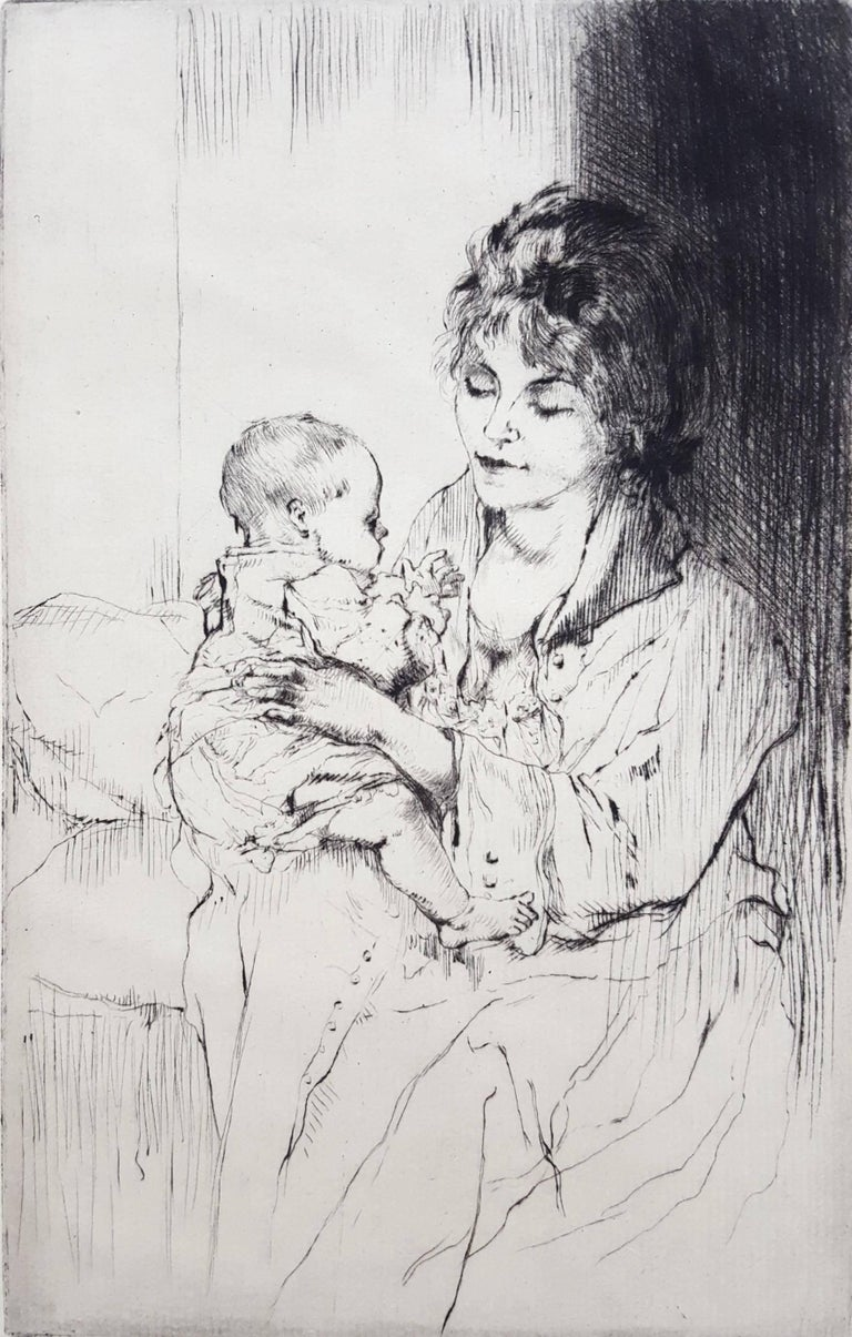 Auguste Brouet Figurative Print - Young Mother (Tiny Little Hands)