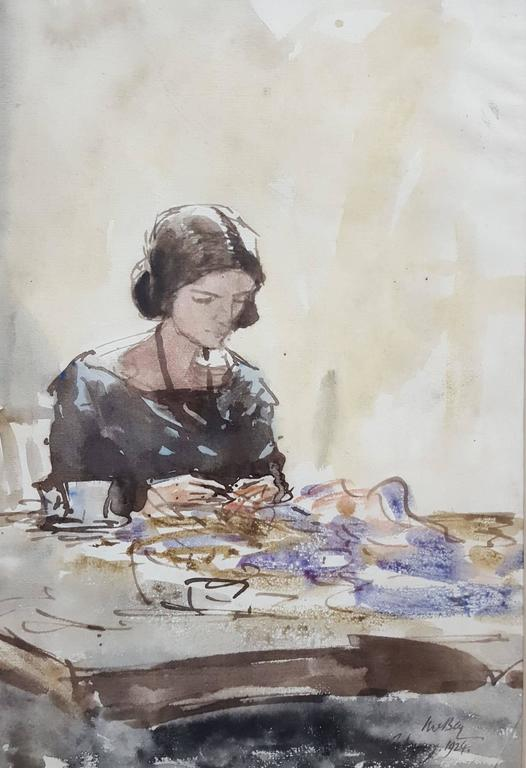 James McBey. Figurative Art - Lady Sewing