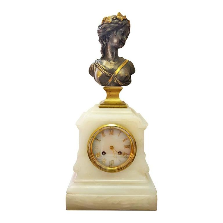 Japy Freres et Cie Neo-Classical Agate Clock with Solid Bronze Bust