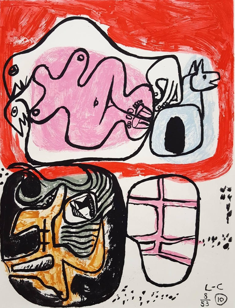 """An original signed etching with aquatint on Rives BFK paper by French-Swiss artist Le Corbusier (Charles-Édouard Jeanneret) (1887-1965) titled """"Unité, Planche 10"""", 1965. Hand pencil signed by Le Corbusier lower right and numbered lower left."""