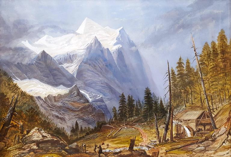 Unknown Landscape Painting - Old Mill in Alpine Landscape