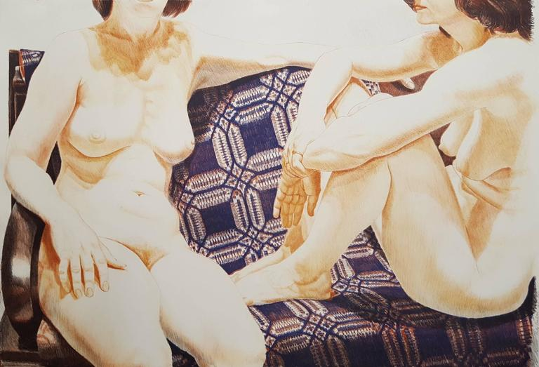 Two Nudes on Blue Coverlet