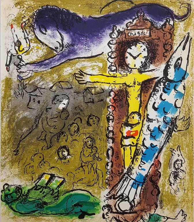 Marc Chagall Landscape Print - Christ in the Clock