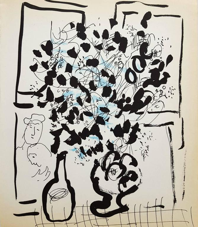 Marc Chagall Interior Print - Black and Blue Bouquet