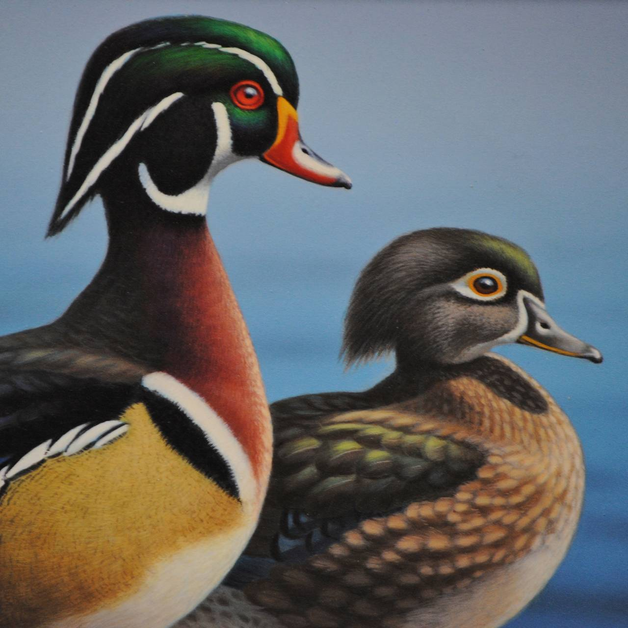 Wood Ducks - Contemporary Painting by Ron Louque
