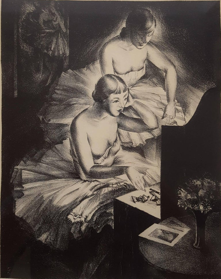 """An original signed lithograph by American artist Arthur Louis Helwig (1899-1976) titled """"Ballerinas"""", 1935. Hand pencil signed and dated by Helwig lower right. Light toning to outer margins of paper, image is in excellent condition. Has been"""