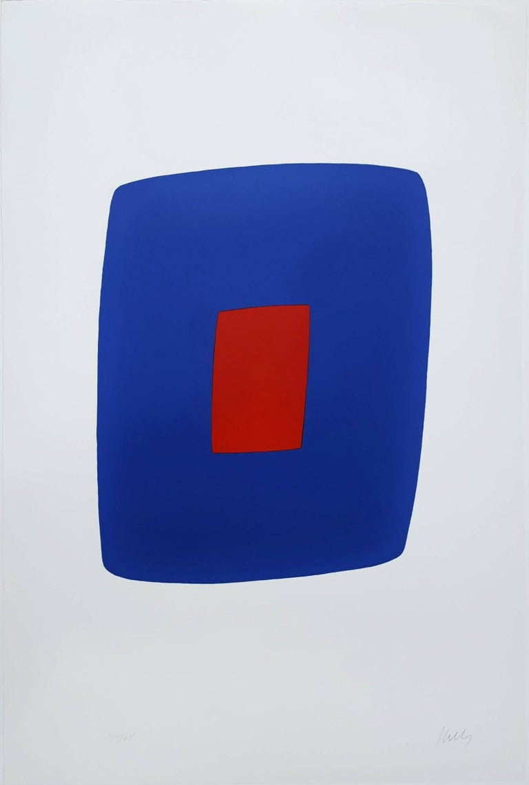Ellsworth Kelly Abstract Print - Dark Blue with Red (VI.7)