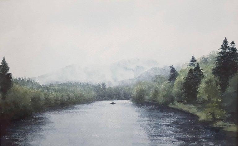 Gillie Cawthorne Landscape Art - Fishing on the River Tay
