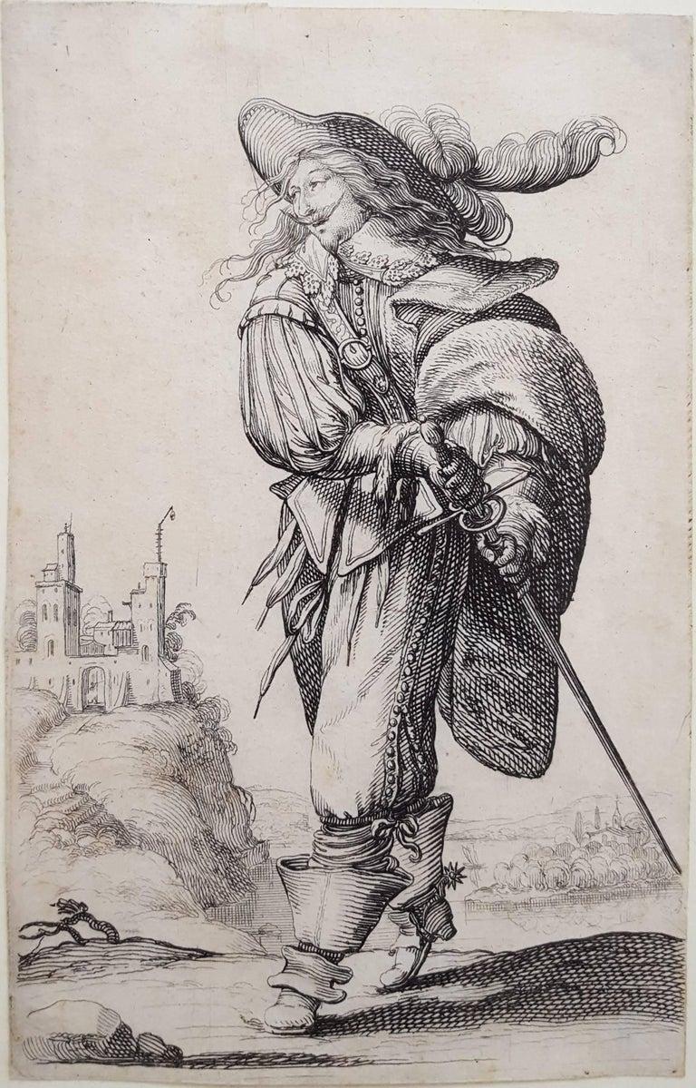 Abraham Bosse Figurative Print - Un homme se dirigeant a droite monte un degre