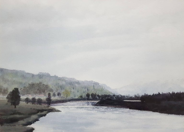 "An original signed watercolor by English artist Gillie Cawthorne (1963-) titled ""River Tay, Scotland"", 1997. Hand signed and dated lower left by Cawthorne. Archivally matted with matting from Holland and shrink-wrapped. Matted size: 18.5"" x 22.5""."