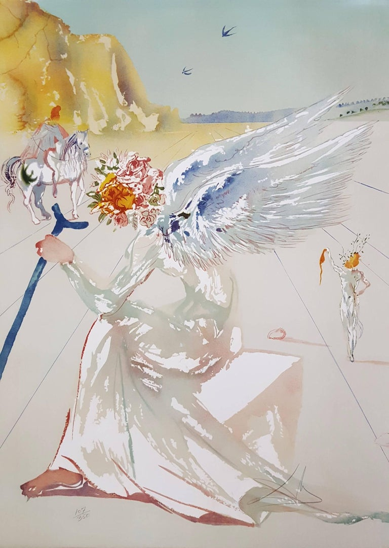 Salvador Dalí Figurative Print - Helen of Troy (Angel with Wand)