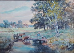 Children with Cows on English Farm Landscape