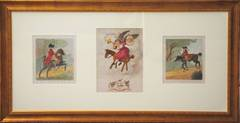 Triptych of Three Hand-Colored Etchings