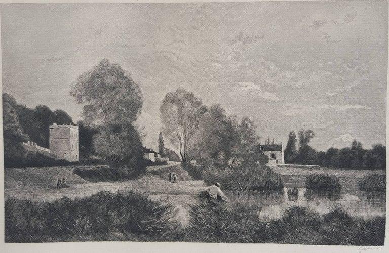 Jean-Baptiste-Camille Corot Landscape Print - L'Etang a Ville d'Array