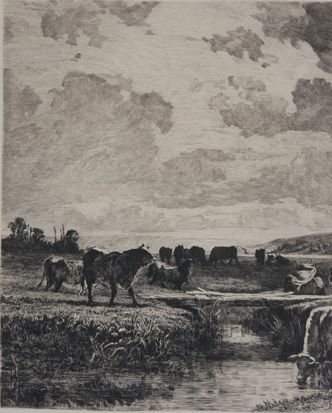 Valle de la Touque Normandie, Sevres - Barbizon School Print by Constant Troyon