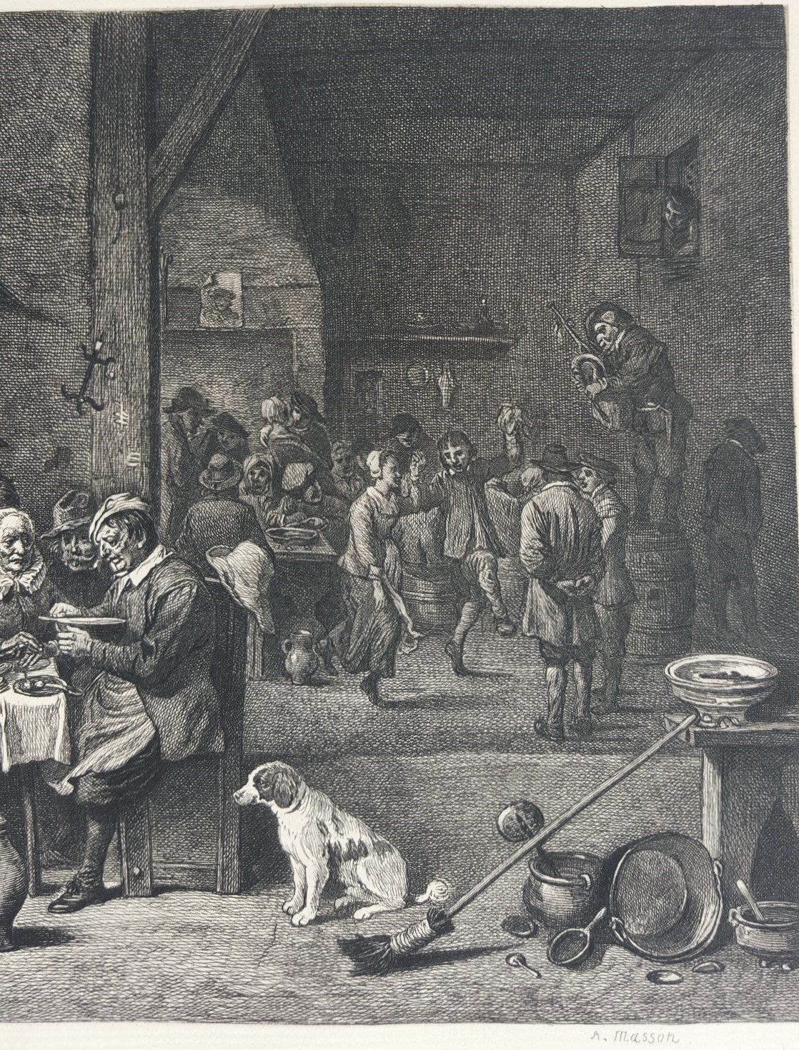 The Dinner Ham - Gray Interior Print by David Teniers the Younger