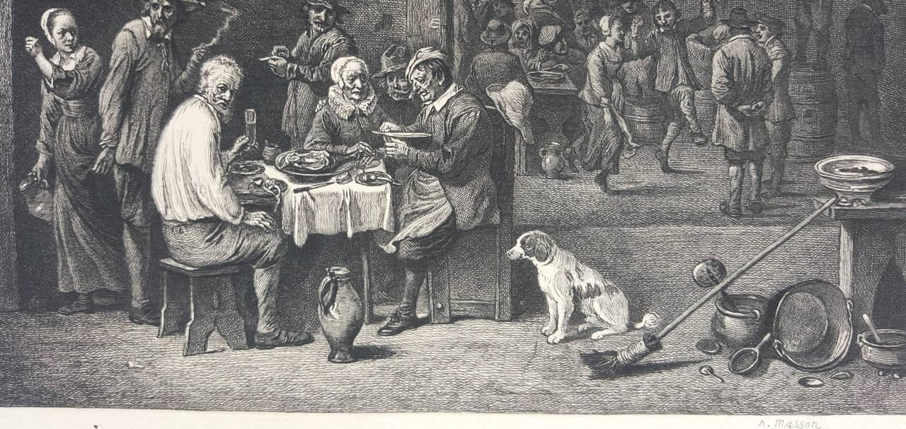 An original etching on laid paper by French A. Masson (Active: 19th Century) after Dutch artist David Teniers (1610-1690) titled