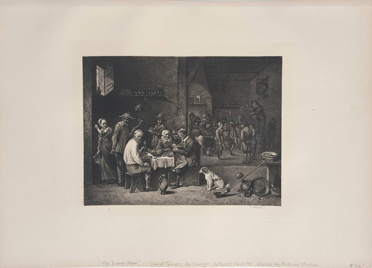 The Dinner Ham - Print by David Teniers the Younger