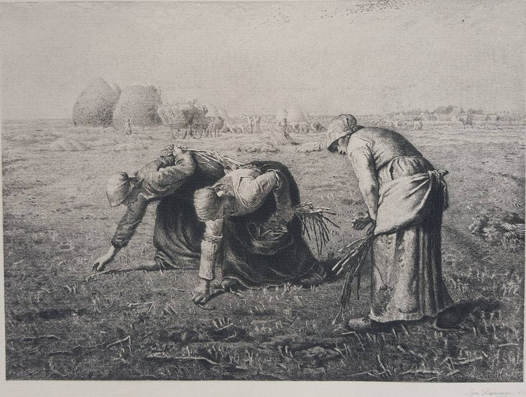 Benjamin-Louis-Auguste Damman Figurative Print - The Gleaners