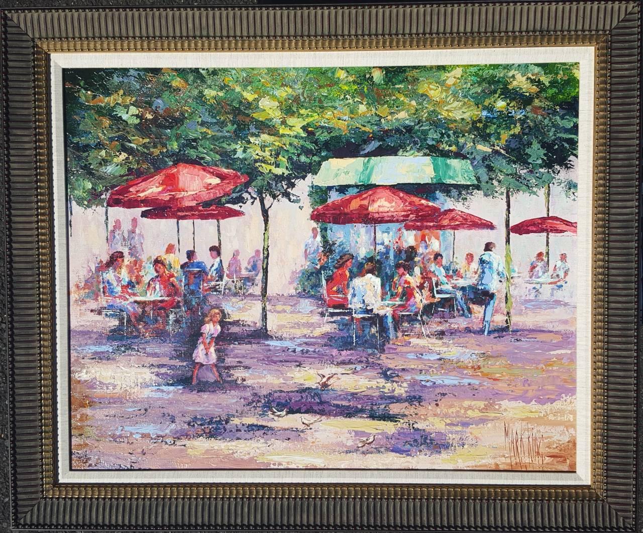 Le Cafe Dans Jardin des Tuileries - Painting by Mark King