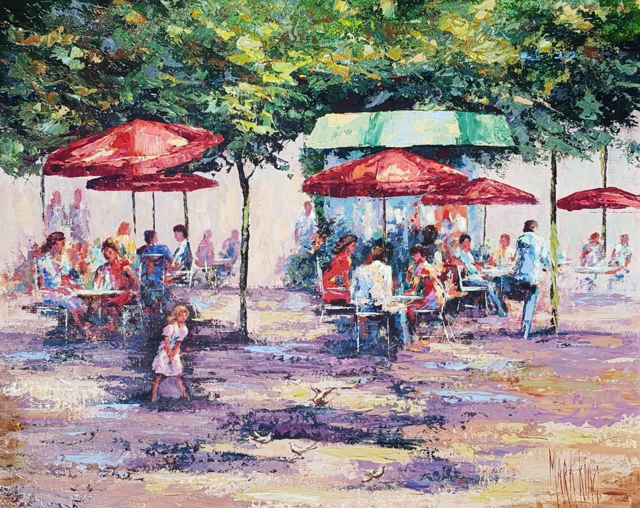 Mark King Landscape Painting - Le Cafe Dans Jardin des Tuileries