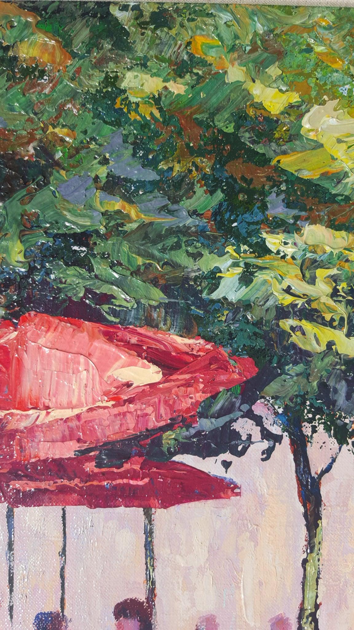 Le Cafe Dans Jardin des Tuileries - Gray Landscape Painting by Mark King
