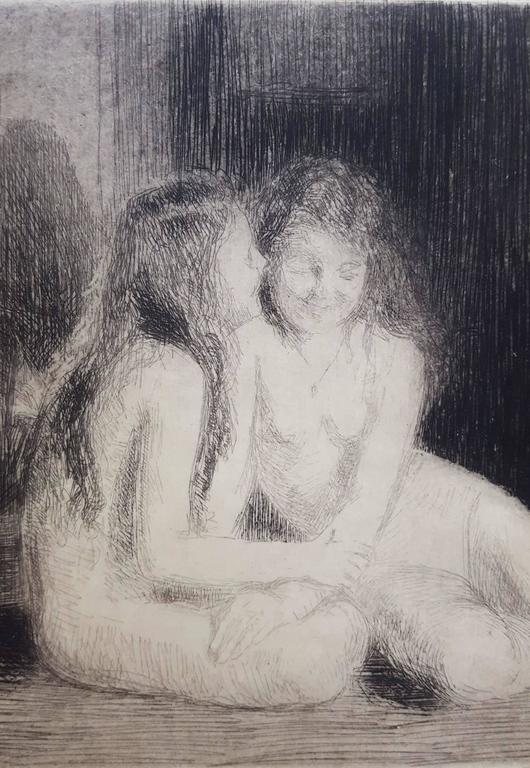 Confidences - Gray Nude Print by Emil Fuchs