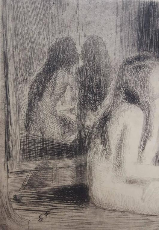 """An original signed etching on wove paper by Austrian artist Emil Fuchs (1866-1929) titled """"Confidences"""", c. 1920. Hand pencil signed by Fuchs lower right. Sheet size: 7"""" x 8.5"""". Image size: 5"""" x 7"""". Mint"""