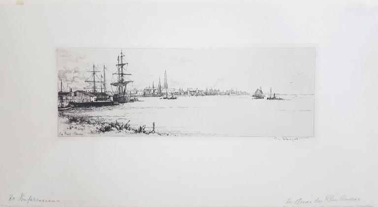 Le Quai du Rhin, Anvers - Print by Eugene Bejot