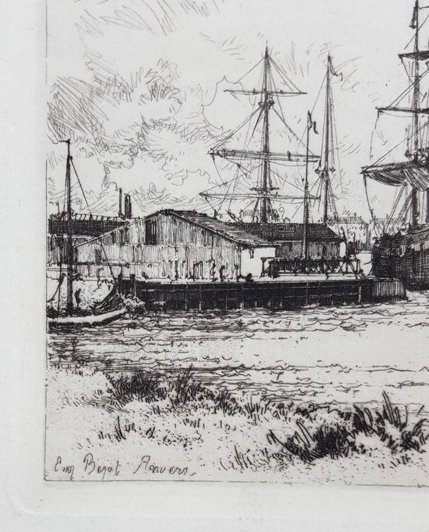 Le Quai du Rhin, Anvers - Gray Landscape Print by Eugene Bejot