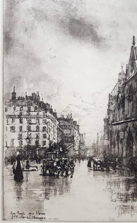 Paris, St. Nicholas - Gray Landscape Print by Eugene Bejot