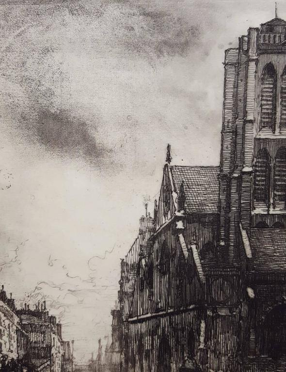 An original drypoint etching on wove paper by French artist Eugene Bejot (1867-1931) titled