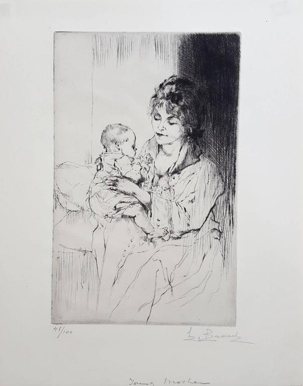 Young Mother (Tiny Little Hands) - Print by Auguste Brouet