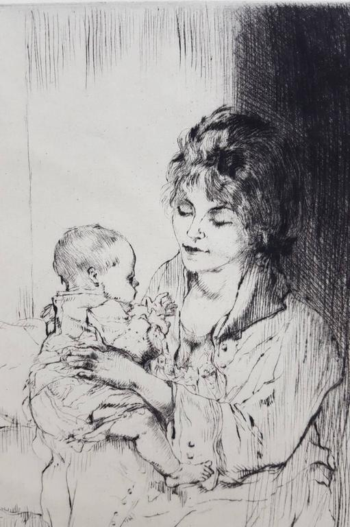Young Mother (Tiny Little Hands) - Impressionist Print by Auguste Brouet