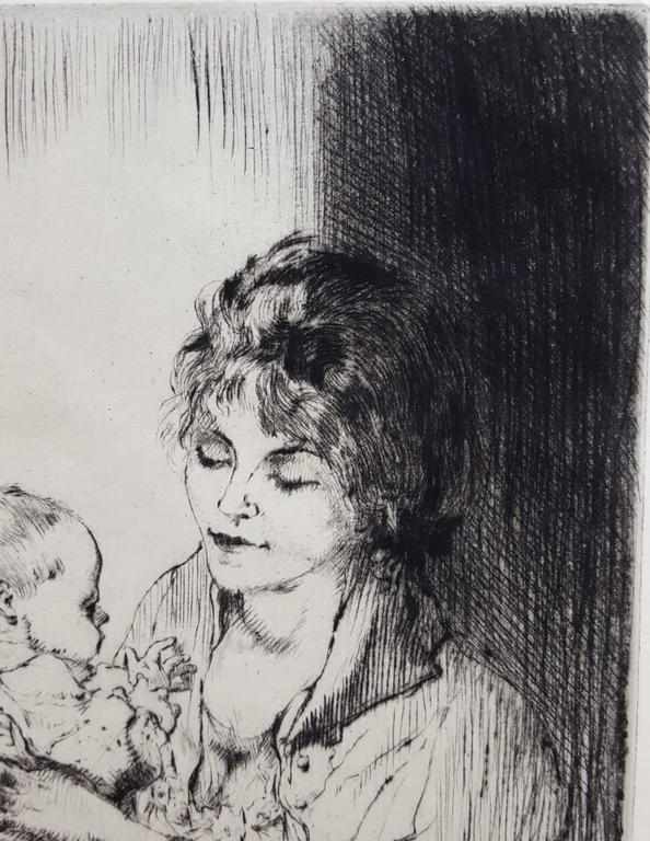 An original signed drypoint etching on paid paper by French artist Auguste Brouet (1872-1941) titled