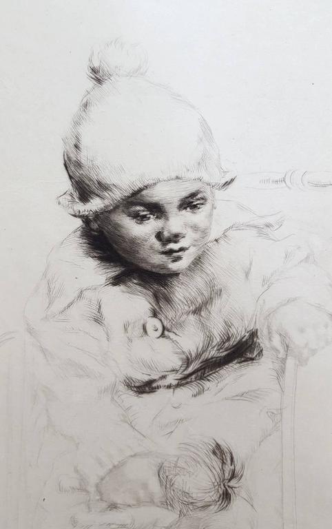 Peggy - Gray Portrait Print by Sidney Tushingham