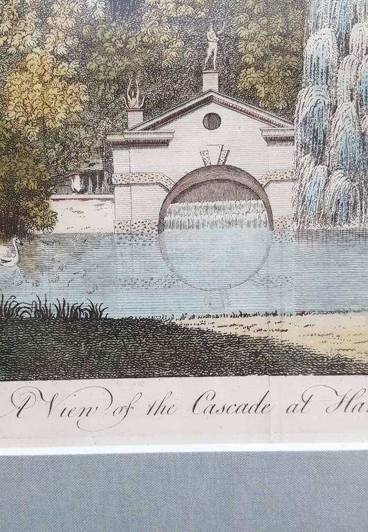 "An original hand colored copper plate engraving on laid paper titled ""A View of the Cascade at Ham Farm"", 1768. Engraved for the Royal Mag. Published for ""A New Display of the Beauties of England"" in 1768. This work has been"