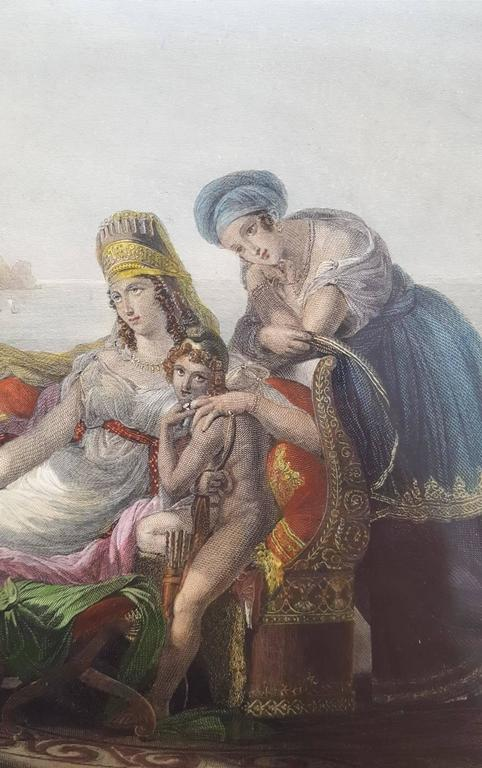"An original hand colored steel plate engraving by an unknown artist titled ""Dido and Aeneas"", engraved in 1892. This work has been matted with matting from Holland and shrink wrapped. Matted size: 13.5"" x 15.75"". Image size:"