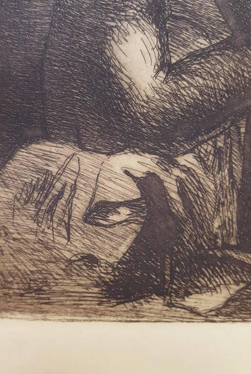 """An original etching by French artist Angele Delasalle (1867-1941) titled """"Le Dejeuner"""", 1907. Published by Revue de l'Art Ancien & Moderne in Paris, France, 1907. Signed and dated in the plate. Printed by Chardon Wittman in sepia ink"""