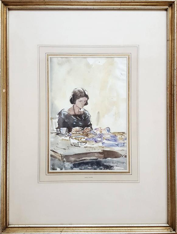 Lady Sewing - Art by James McBey.
