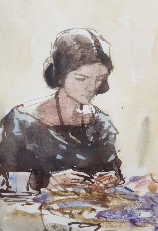 "An original signed watercolor by Scottish artist James McBey (1883-1959) titled ""Lady Sewing"", dated February 1924. Signed and dated by McBey lower right. Provenance: W. Russell Button, Inc.. Framed size: 22.5"" x 17"". Image size: 11.25"" x 7.75""."