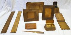 Complete 10 Piece China-Pattern Gilt-Bronze Desk Set