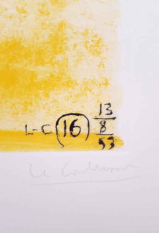 Unité, Planche 16 (Set of 2) - Orange Abstract Print by Le Corbusier