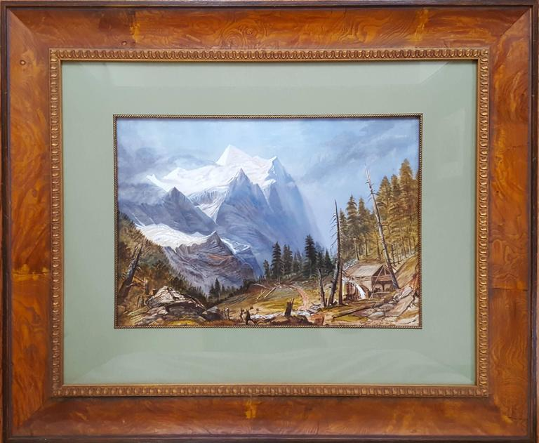 Old Mill in Alpine Landscape - Painting by Unknown