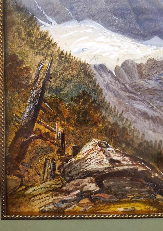 Old Mill in Alpine Landscape - Gray Landscape Painting by Unknown