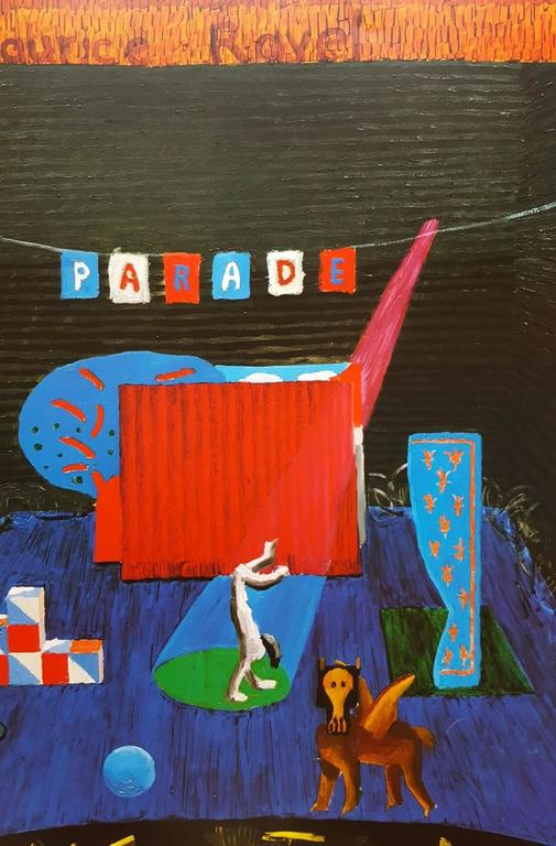 """An original offset-lithograph exhibition poster by English artist David Hockney (1937-) titled """"Set for Parade"""", 1980. Created by Hockney for a show held at Andre Emmerich Gallery in New York City in association with the Metropolitan Opera"""