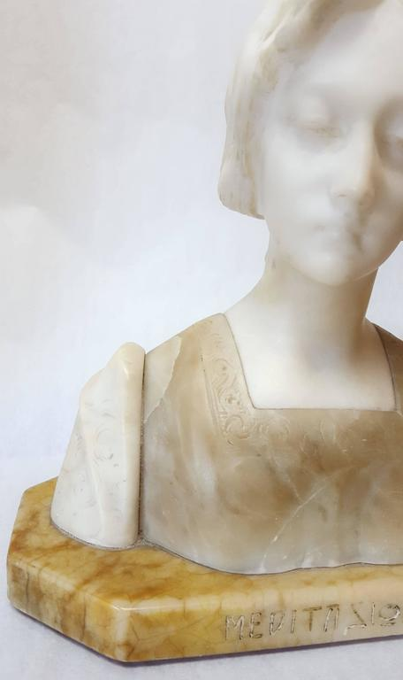 An original carved marble and alabaster sculpture bust attributed to Italian artist Giuseppe Bessi (1857-1922) titled