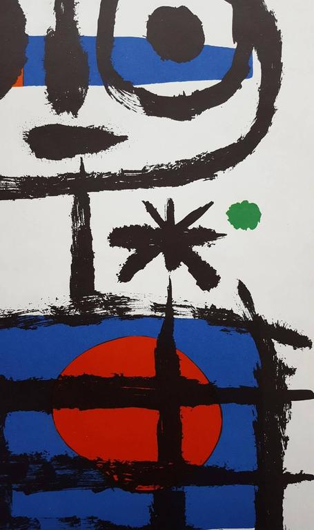An original lithograph exhibition poster by Spanish artist Joan Miro (1893-1983) titled