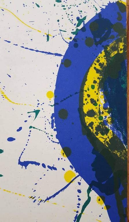 """An original five color lithograph poster on laid paper by American artist Sam Francis (1923-1994) titled """"Metaphysique Du Vide (L271)"""", 1986. Edition size unknown, presumed small. Created for the publication of the Michel Waldberg"""